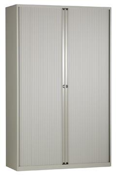 Bisley roldeurkast, ft 198 x 120 x 43 cm (h x b x d), 4 legborgen, lichtgrijs