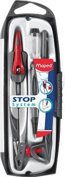 Maped passer Stop System 5-delige passerdoos: 1 passer Stop System, 1 universeel inzetstuk, 1 mineslij...