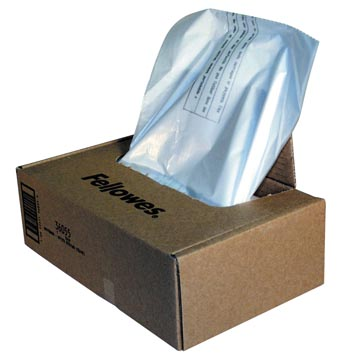 Fellowes opvangzakken van 30 liter voor papiervernietigers, pak van 100 zakken