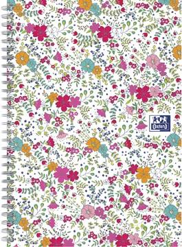 Oxford Floral hardcover spiraalschrift, ft B5, 60 vel, gelijnd, wit