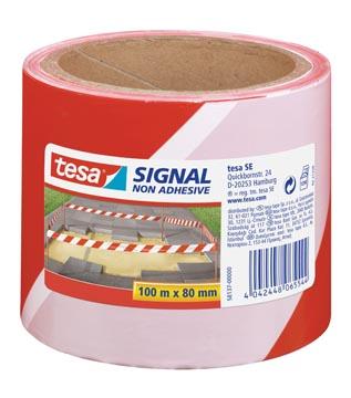 Tesa waarschuwingstape afzetlint niet klevend, ft 80 mm x 100 m, rood/wit