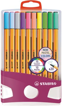 STABILO point 88 fineliner, PastelParade, etui van 20 stuks in geassorteerde kleuren