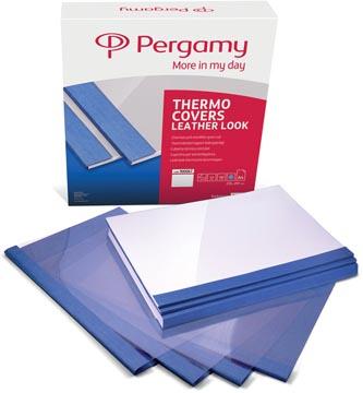 Pergamy thermische omslagen ft A4, 6 mm, pak van 100 stuks, lederlook, blauw