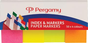 Pergamy Index & papieren markeerstroken, pak van 4 x 50 vel, geassorteerde neon kleuren