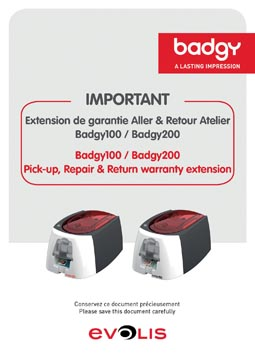 Badgy garantie uitbreiding voor badgy printers, 1 jaar