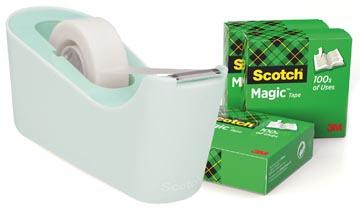 Scotch verzwaarde plakbandafroller inclusief 4 rollen Scotch magic tape, muntgroen
