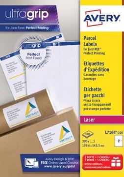 Avery L7168, Verzendetiketten, Laser, Ultragrip, wit, 100 vellen, 2 per vel, 199,6 x 143,5 mm