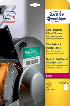 Avery ultra resistente etiketten voor buiten ft 210 x 148 mm (b x h), doos van 20 etiketten